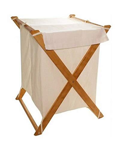 zirruswolke Schmutzwäschekorb mit Zwei Fächer Wäschekorb aus hochwertigem Holz und Stoff - Wäschesortierer Wäschesack 2 Fach klappbar und faltbar