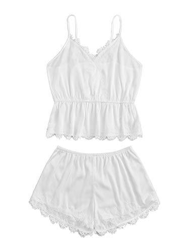 DIDK Women's Lace Trim Velvet Bralette and Shorts Pajama Set White S