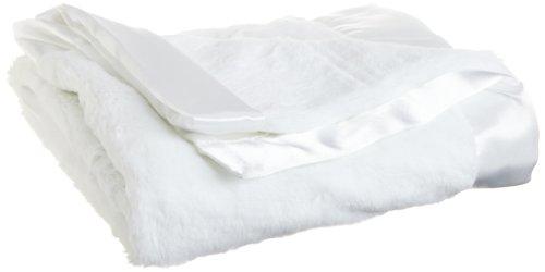 Little Me Unisex-Baby Newborn Neutral White Plush Stroller Blanket, White, One Size