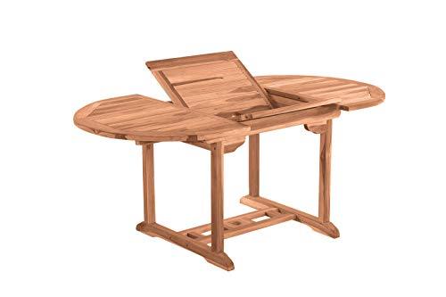 Möbilia - Mesa de jardín (redonda, 120 cm, extensible, madera de teca, 120 x 120 x 75 cm)