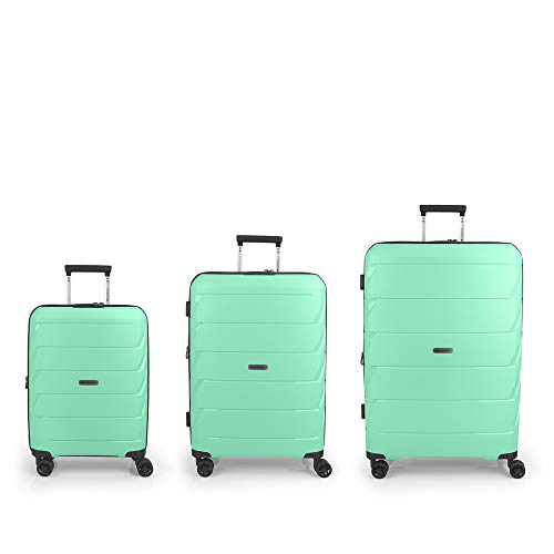 Gabol - Sakura | Hard Case Set with Three Green Suitcases with Cabin Suitcase, Medium Trolley and Large Trolley