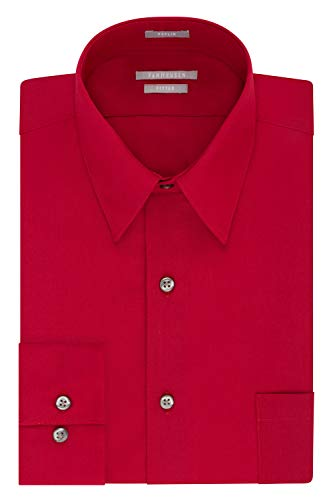 Van Heusen Men's Dress Shirt Fitted Poplin Solid, Flame, 17.5' Neck 34'-35' Sleeve