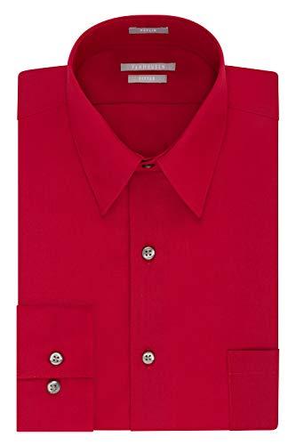 Van Heusen Men's Dress Shirt Fitted Poplin Solid, Flame, 17.5' Neck 34'-35' Sleeve
