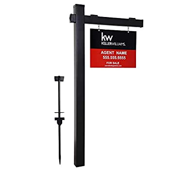 kdgarden Vinyl PVC 6-Feet Black Real Estate Sign Post with Flat Cap Realtor Yard Sign Post for Open House and Home for Sale 47  Arm Holds Up to 36  Sign No Sign