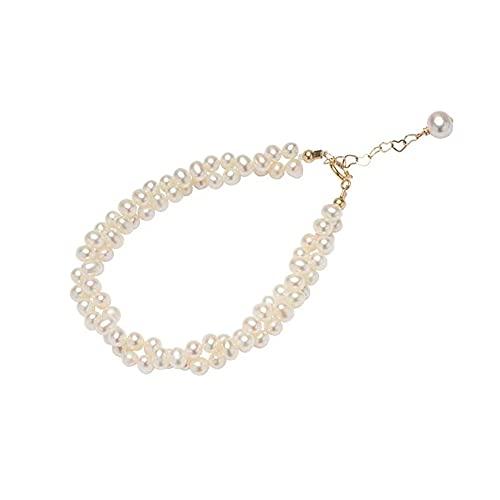 Hokie - Pulsera de perlas blancas cultivadas de agua dulce con cadena de extensión chapada en oro de 14 quilates, perlas de agua dulce de 3-4 mm, regalo perfecto para ella