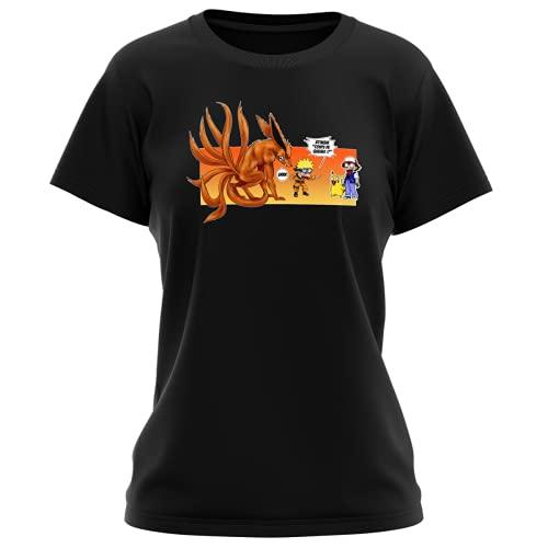 T-Shirt Femme Noir Parodie Naruto - Pokémon - Naruto, Kyubi X Sasha et Pikachu - Un Nouveau dresseur. (T-Shirt de qualité Premium de Taille L - imprimé en France)