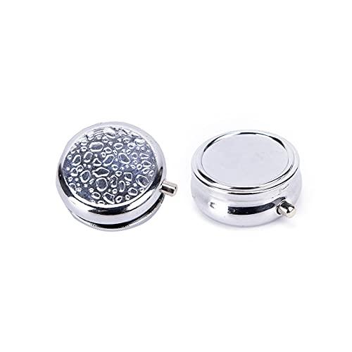 WWWL Pillerask små fodral metall rund silver tablett pillerlådor hållare effektiv användning av utrymme fördelaktigt behållare medicin fodral