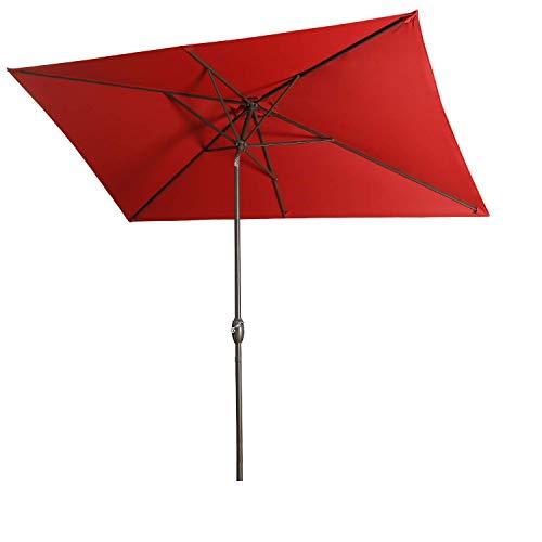 Aok Garden Outdoor Market Umbrella,10x6.5 Feet Square Patio Umbrella with Push Button Tilt and Crank Lift Ventilation,6 Sturdy Ribs Non-Fading Sunshade,Wine Red