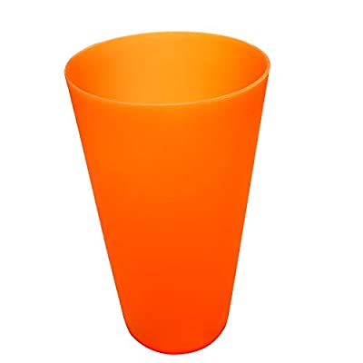 Everyday Drinking Cups Large Plastic Tumblers BPA-free Reusable Dishwasher Safe 32-ounce Orange Color set of 12 for Kids Adult Use