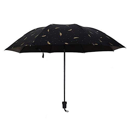 MAWA Paraguas de Tres Pliegues de Dibujos Animados creativos Paraguas de Lluvia de protección Solar Simples de Moda - Negro, a1