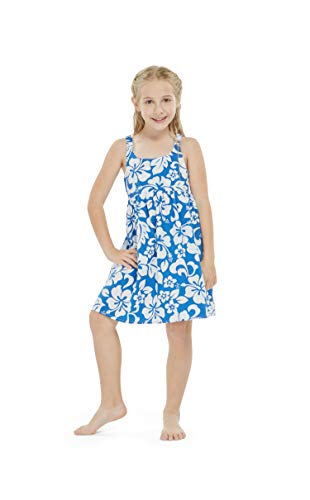 Girl Elastic Strap Empire Waist Dress in Classic Hibiscus Blue 8 Year Old
