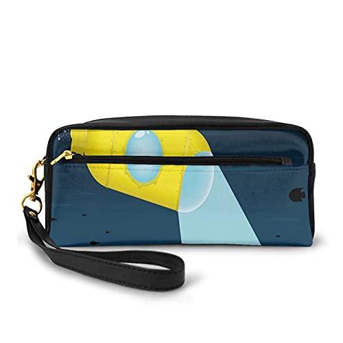 Federmäppchen mit Reißverschluss, Illustration eines Unterwasser-U-Boots mit Herzmotiv, kleine Make-up-Tasche