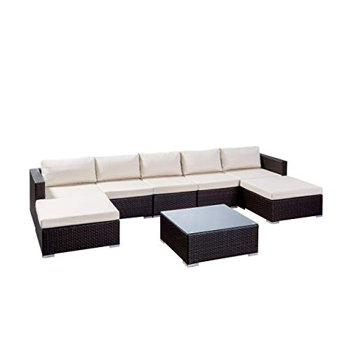Christopher Knight Home 304752 Tom Rosa Outdoor 5 Seater Wicker Sectional Sofa Set, Multibrown with Beige Cushions