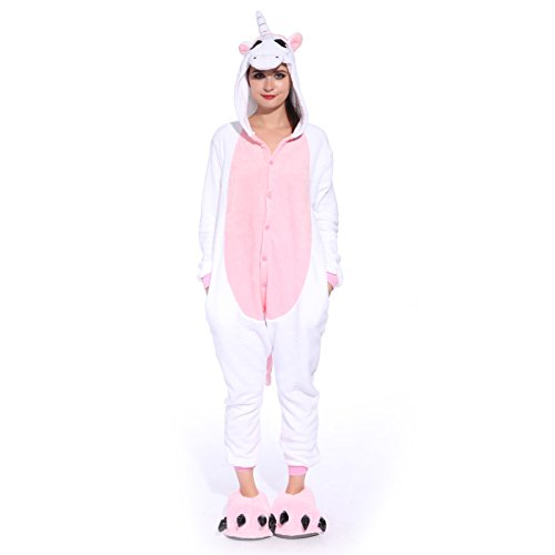 Anladia Unisex Pyjamas Kostüm Fleece Overall Jumpsuit Tier Erwachsene Schlafanzug (Weiß+Rosa, XL)