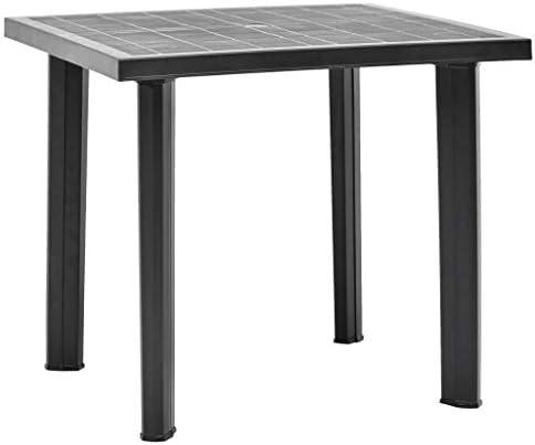 Goliraya Table de Jardin Table de Camping Table224; Manger dext 233;rieur Plastique Anthracite 80x75x72 cm