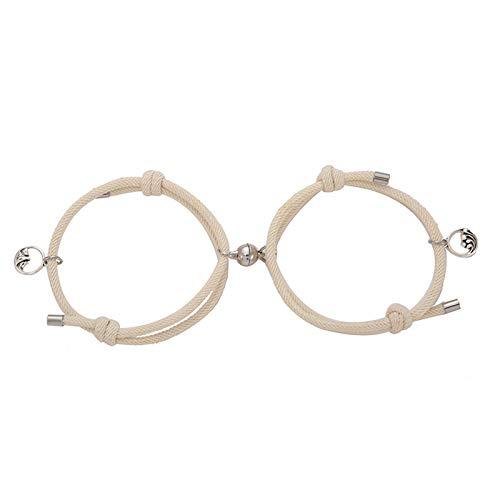 Janly Clearance Sale Pulseras para mujer, hombres y mujeres, para parejas, cuerda de mano, regalo de cumpleaños para damas y niñas (beige)