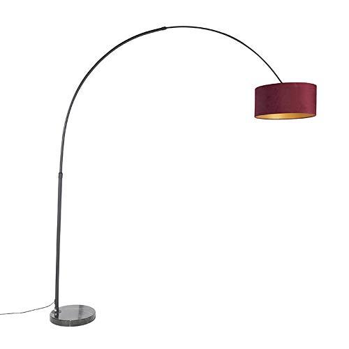 QAZQA Modern Bogenlampe schwarz Veloursschirm rot mit Gold/Messing 50 cm - XXL/Innenbeleuchtung/Wohnzimmerlampe/Schlafzimmer Stahl/Marmor/Textil Länglich/Zylinder/Rund LED geeignet E27 Max