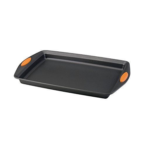Rachael Ray Nonstick Bakeware with Grips, Nonstick Cookie Sheet / Baking Sheet - 11 Inch x 17 Inch, Gray with Orange Grips