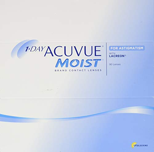 Acuvue 1-Day Moist For Astigmatism Tageslinsen weich, 90 Stück / BC 8.5 mm / DIA 14.5 mm / CYL -1.75 / ACHSE 40 / -0.5 Dioptrien