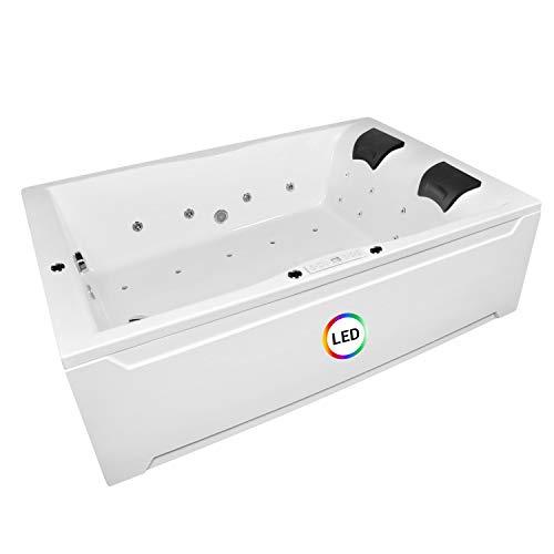 Whirlpool Badewanne Hamburg 180x120cm Modell: Lux + 26xEdelstahldüsen Badewanne mit Bausatz Whirlpool Badewannen Zubehör Wellness Indoor Whirlpool für 2 Personen