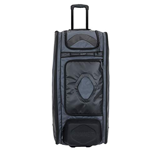 Bownet Commander and Catcher Bag With Wheels and 14 Different Pockets- Softball & Baseball Catchers Bag - Youth Players & Coaches Equipment Gear Bag (38'H x 17'W x 12'D, Black)