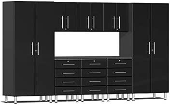 Ulti-MATE UG22091B 9-Piece Garage Cabinet Kit with Channeled Worktop in Midnight Black Metallic