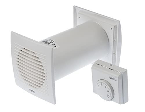 Distribuidor de calor de 100 mm de diámetro, con termostato, ventilador blanco, ventilador y intercambiador de calor