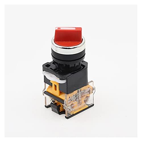 Kfdzsw Giratorio Interruptor Interruptor selector de Auto-Bloqueo de 22 mm 1NO1NC 2/3 Posiciones Interruptores giratorios DPST 4 Tornillos 10A400V Interruptor de Encendido/Apagado Rojo Verde Negro