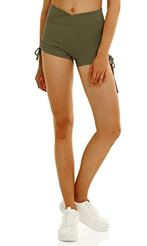 HAODIAN Women Yoga Shorts Ruched Booty Cross Waist Adjustable Side Ties Gym Workout Shorts Butt Lifting Hot Pants Army Green S