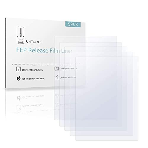 UniTak3D Foglio di FEP Film, 5Pcs 260 * 180 * 0,15mm per MONO X, per Elegoo Saturn Stampanti 3D UV DLP LCD