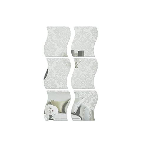 YUEWEIWEI Pegatinas de pared de espejo ondulado 3D, 6PCS Arte espejo, BRICOLAJE Home Decorative Acrylic Espejo, para el dormitorio de la sala de estar para el hogar TELEVISOR Ajuste de la decoración d