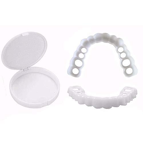 2 Paare Furniere Zahnersatz Zähne Sofortige Temporäre Zahnprothesen, Silikon Wiederverwendbare und Abnehmbaren Perfekte Lächeln Ober und Unterkiefer