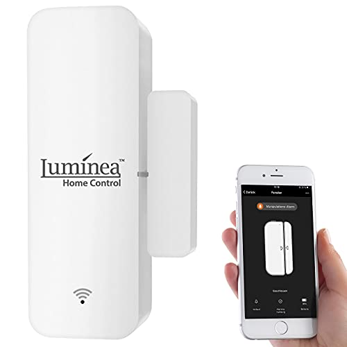 Luminea Home Control Tür Sensor: WLAN-Tür- & Fensteralarm mit App, komp. zu Alexa & Google Assistant (Türkontakt)