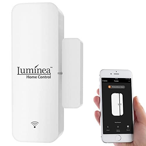 Luminea Home Control Fensterkontakt: WLAN-Tür- & Fensteralarm mit App, komp. zu Alexa & Google Assistant (Türsensoren)