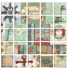 Fabulous Décor: Wall Tiles, Soft 3D Thick Gel Decals, Maritime Squares Design, DIY Peel and Stick, Self-Adhesive, Backsplash, Kitchen, Bathroom, Water and Heat Resistant 11.8 x 11.8 (10 Tiles)