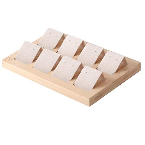 H HILABEE Samt/Kunstleder Schmuck Ohrringe Display Karten Mit Bambus Holzschale Vitrinen, 6 Paar, 3 Farben - 8 Paar Creme