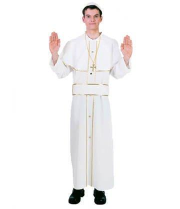 PARTY DISCOUNT Herren-Kostüm Papst, weiß mit Goldborte Gr. 58-60