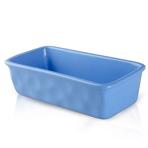 DUS Ceramic Bread Pan Loaf Pan 8.5 inch Toast Bread Baking Pans Baking Dish Nonstick Meatloaf Pan, Blue