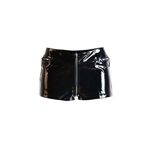 GGTBOUTIQUE Schwarz Reizvoller NahaufnahmeFitting PVC Shorts geöffnete Gabelungs Kurze Hose mit Reißverschlüssen niedrigen taillierte Reißverschluss Shorts Tanzstange Outfit für Frauen (Medium)