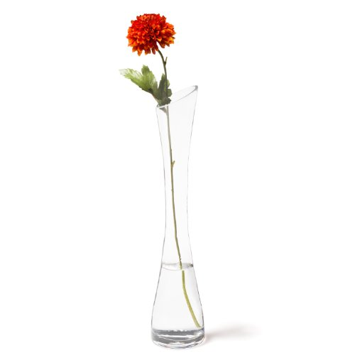 Leonardo Solifleurvase Sprout, schmale Deko-Vase, handgefertiges Unikat für langstielige Blumen, aus Glas, 31-cm, 058844