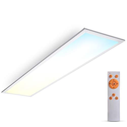B.K.Licht LED Panel I 24W I 1000x250x63mm LxBxH I CCT I Farbtemperatur steuerbar I Dimmbar I Fernbedienung I Ultra Flach I Timer I Nachtlicht I Memoryfunktion I Deckenlampe