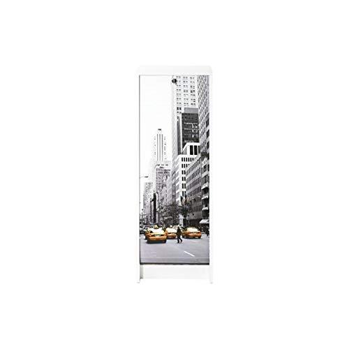 ACTUAL DIFFUSION Boost Classeur Blanc Rideau Imprimé-Coloris-Scene New York 504, Bois, 38,5x38x103,8 cm