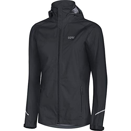 GORE WEAR Damen wasserdichte Kapuzen-Laufjacke, R3 Women Gore-TEX Active Hooded, 34, 100071 Kapuzenjacke, Black