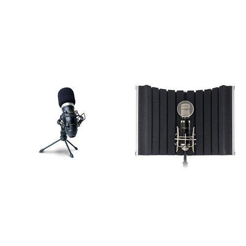 Marantz Professional MPM-1000 Kondensator Großmembranmikrofon mit Nieren-Charakteristik + Marantz Professional Sound Shield Compact Faltbarer Mikrofon Reflexionsfilter zur Montage an ständer Bundle