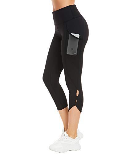 QUEENIEKE Pantalones de Mallas de Yoga de Cintura Alta para Mujeres Pantalones de Mallas para Correr Color Negro Space Dye Tamaño S