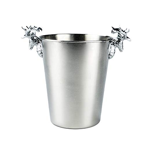 Cubo De Hielo De Vino De Champán De Acero Inoxidable, Enfriador De Banquetes De Restaurante En Casa, con Clip De Hielo, Práctico Y Hermoso,Plata,L