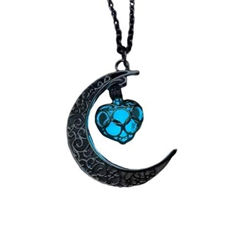 Amosfun leuchtenden Mond Anhänger Halskette Liebe Herz Fluoreszierende Halskette im Dunkeln leuchten Halskette