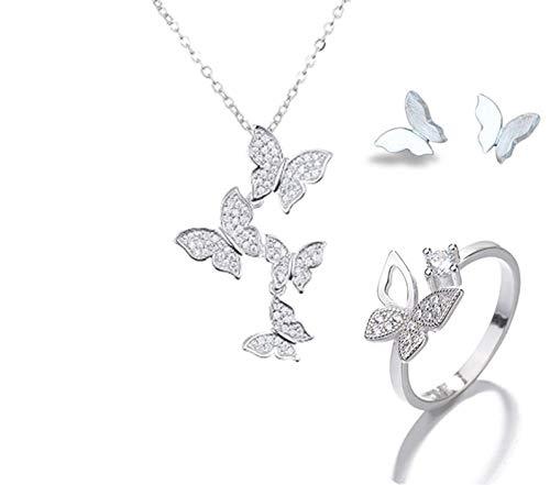 Joyas De Rhinestone Boho Sets 925 Sterling Silver Cadena Larga Pendientes De Mariposa Pendientes Anillos para Lady Wedding Bridal
