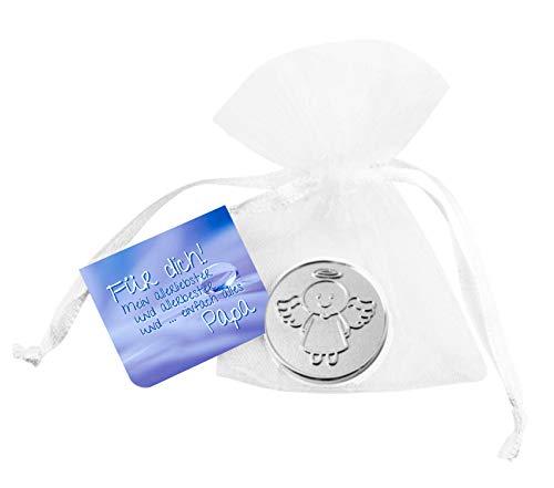 EnerChrom Schutzengel Glücksmünze Bester Papa - Engel Smiling Paul - 1 Stück Farbe Silber - Glücksbringer