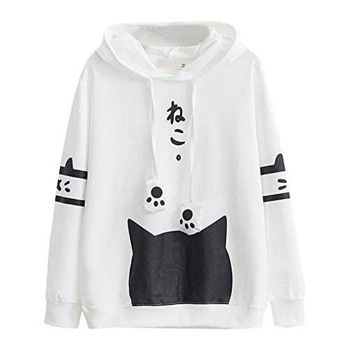 Purchase YAnGSale Top Womens Blouse Cute Cat Claw Drawstring Hoodies Casual Outdoor Sweatshirt (Whit...